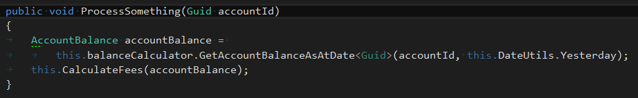 Code in IDE, argument names omitted